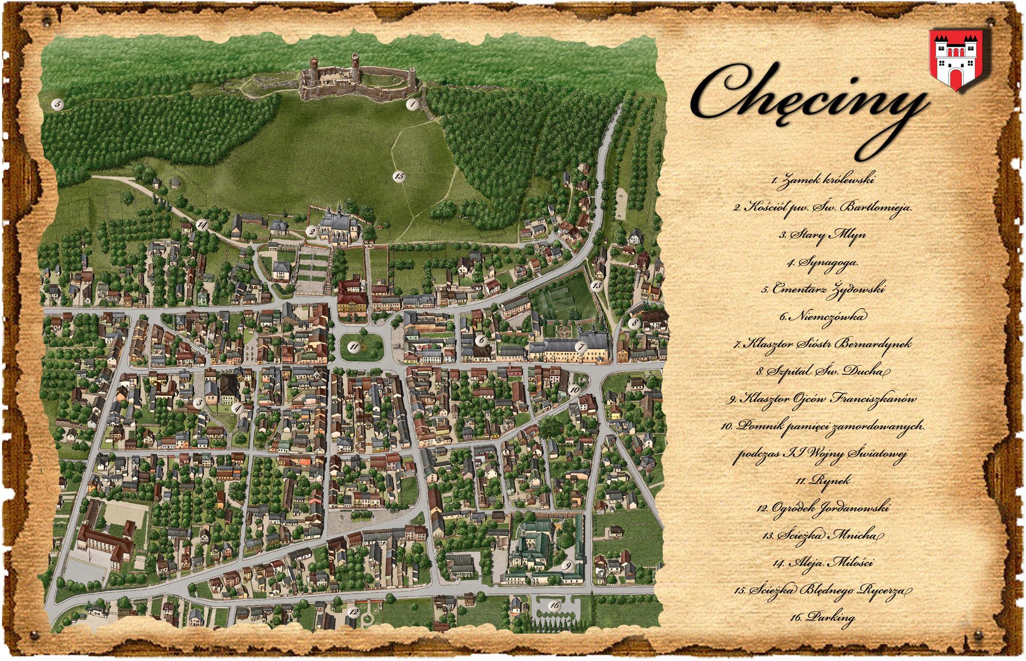 mapa_graficzna_miasta_checiny_świętokrzyskie